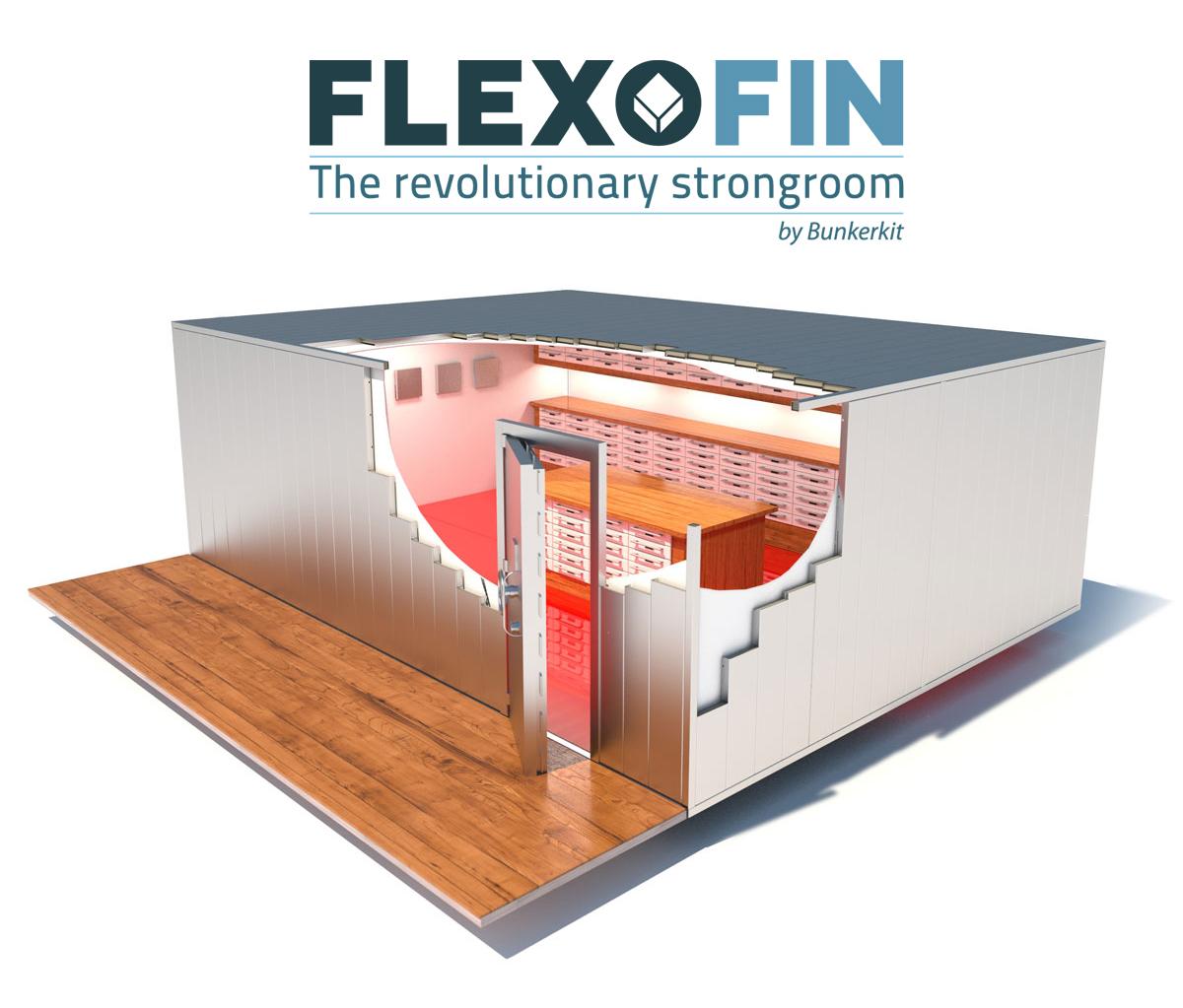 Chambre forte modulaire avec aménagements intérieurs